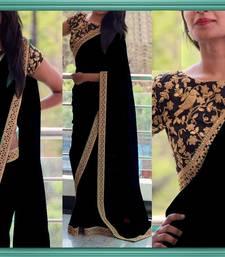 Buy Black plain georgette saree with blouse georgette-saree online