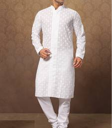Buy white cotton poly embroidered kurta pajama men-festive-wear online