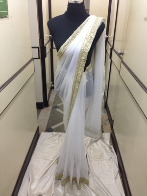 White net saree