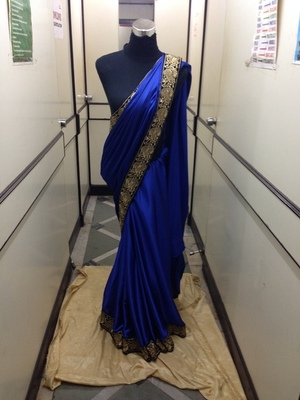 Blue Satin saree