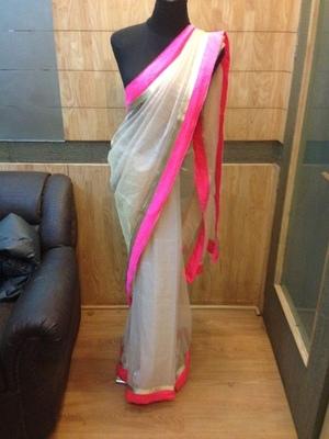 White Banarasi Net saree