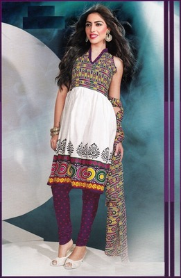 Dazzling White Printed Cotton Dress Material D.No DP2303