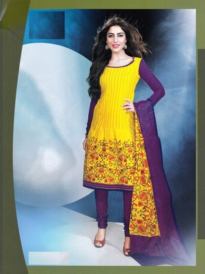 Trendy Yellow Printed Cotton Dress Material D.No DP2309