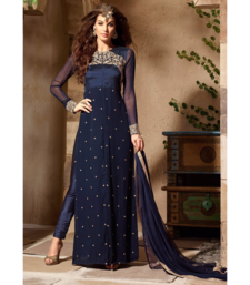 Buy Blue embroidered georgette salwar with dupatta dress-material online