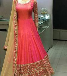 Buy Pink embroidered silk salwar with dupatta anarkali-salwar-kameez online