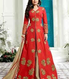 Buy Red embroidered silk salwar with dupatta anarkali-salwar-kameez online