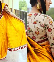 Buy Yellow plain chanderi saree with blouse chanderi-saree online