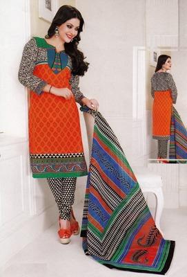 Dazzling Orange Printed Cotton  Dress Material D.No LS4582