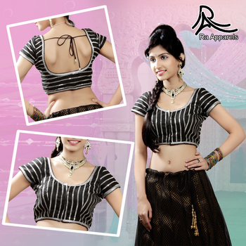 Black raw silk blouse with silver lace work Ready Made Padded Saree Blouse.