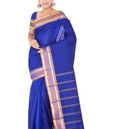 Buy Dark royal blue plain pure mix saree with blouse traditional-saree online