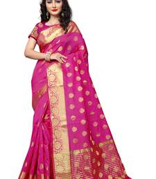 Buy Pink woven cotton silk saree with blouse cotton-saree online