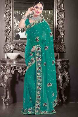 Teal georgette pearl & stone worked saree in multi colour border