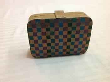 Green checkered box clutch