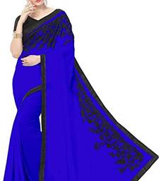 Buy Blue embroidered georgette saree with blouse below-1500 online