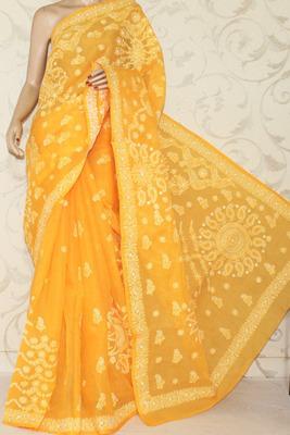 Hand Embroidered Lucknowi Chikankari Saree - Half Jaal (With Blouse-Cotton)