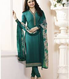 Buy Turquoise embroidered crepe salwar with dupatta black-friday-deal-sale online