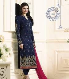 Buy Blue embroidered georgette salwar with dupatta bollywood-salwar-kameez-online online