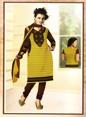 Radiant Yelow Printed Crepe Unstitched Dress Material D.No BB214