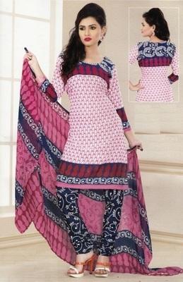 Radiant Pink Printed Crepe Unstitched Dress Material D.No LA4501