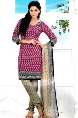 Beautiful Wine Color Printed Crepe Unstitched Dress Material D.No RR3411