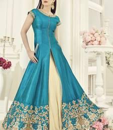 Buy Sky blue embroidered silk salwar black-friday-deal-sale online