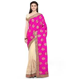 Buy Pink color embroidered georgette semi stitched wedding saree with blouse designer-embroidered-saree online