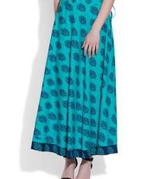 Buy Turquoise Cotton printed skirts navratri-skirt online