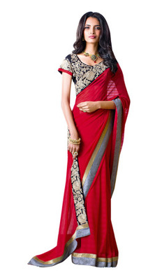 Red Border Worked Faux Georgette Saree With Blouse