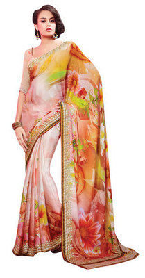 Peach Printed Faux Georgette Saree With Blouse