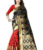 Buy Black poly cotton saree with blouse