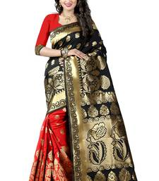Buy Black poly cotton saree with blouse hand-woven-saree online