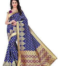 Buy Blue poly cotton saree with blouse below-1500 online