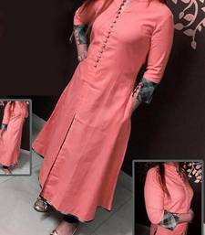 Buy peach plain stitched cotton-kurtis cotton-kurtis online