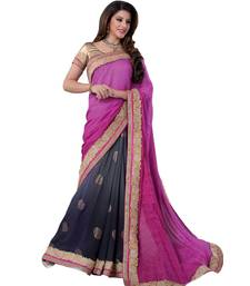 Buy Multicolor embroidered crepe saree with blouse crepe-saree online