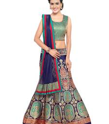 Buy Blue woven silk unstitched lehenga with dupatta multicolor-lehenga online
