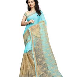 Buy Sky blue embroidered net saree with blouse net-saree online