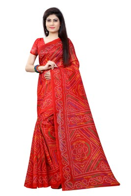 Red printed bhagalpuri cotton saree with blouse