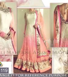 Buy Multicolor embroidered net salwar with dupatta anarkali-salwar-kameez online