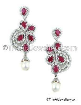 Ruby Red CZ AD American Diamond Drop Earrings Jewellery for Women - Orniza