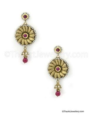 Dark Pink Traditional Rajwadi Dangle and Drop Earrings Jewellery for Women - Orniza