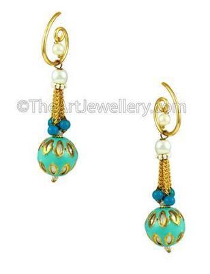 Turquoise Blue Traditional Rajwadi Dangle and Drop Earrings Jewellery for Women - Orniza
