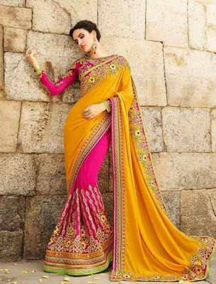Orange embroidered faux georgette saree with blouse