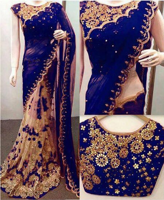 Navy blue embroidered georgette saree with blouse