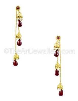 Ruby Red Traditional Rajwadi Jhumki Earrings Jewellery for Women - Orniza