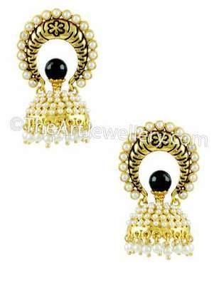 Black Traditional Rajwadi Jhumki Earrings Jewellery for Women - Orniza