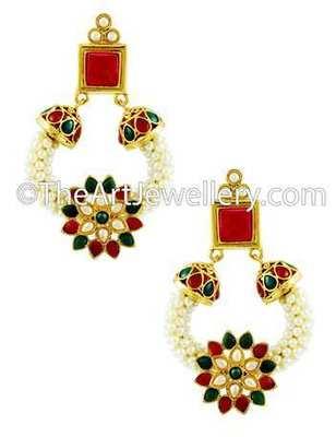 Red Green Polki Stones Dangle Earrings Jewellery for Women - Orniza