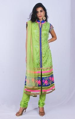 Green Blue Pink Net Aari Work Straight Fit Churidaar Kameez