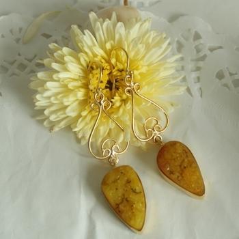 Yellow Druzy Drops Danglers Earrings Jhumkas