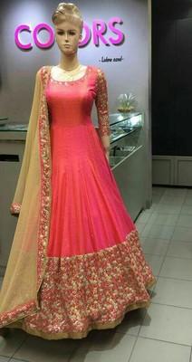 Dark peach embroidered cotton silk salwar with dupatta
