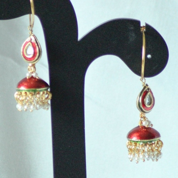 Red Paachi Kundan Danglers Drops Jhumkas Earrings